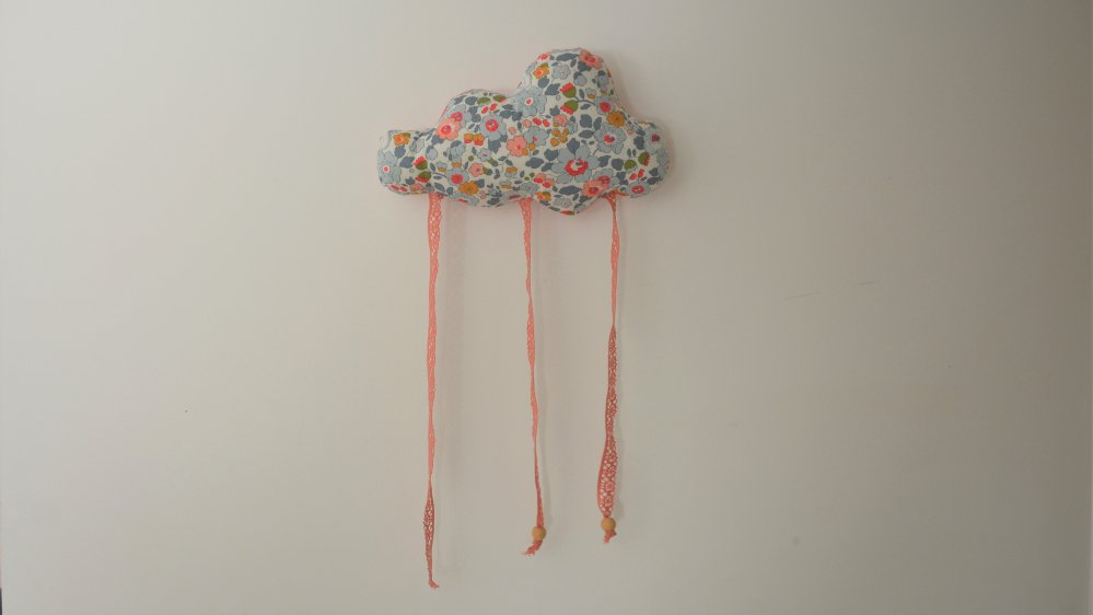 Nuage décoration/accroche barrette Liberty Betsy porcelaine--9995450769052