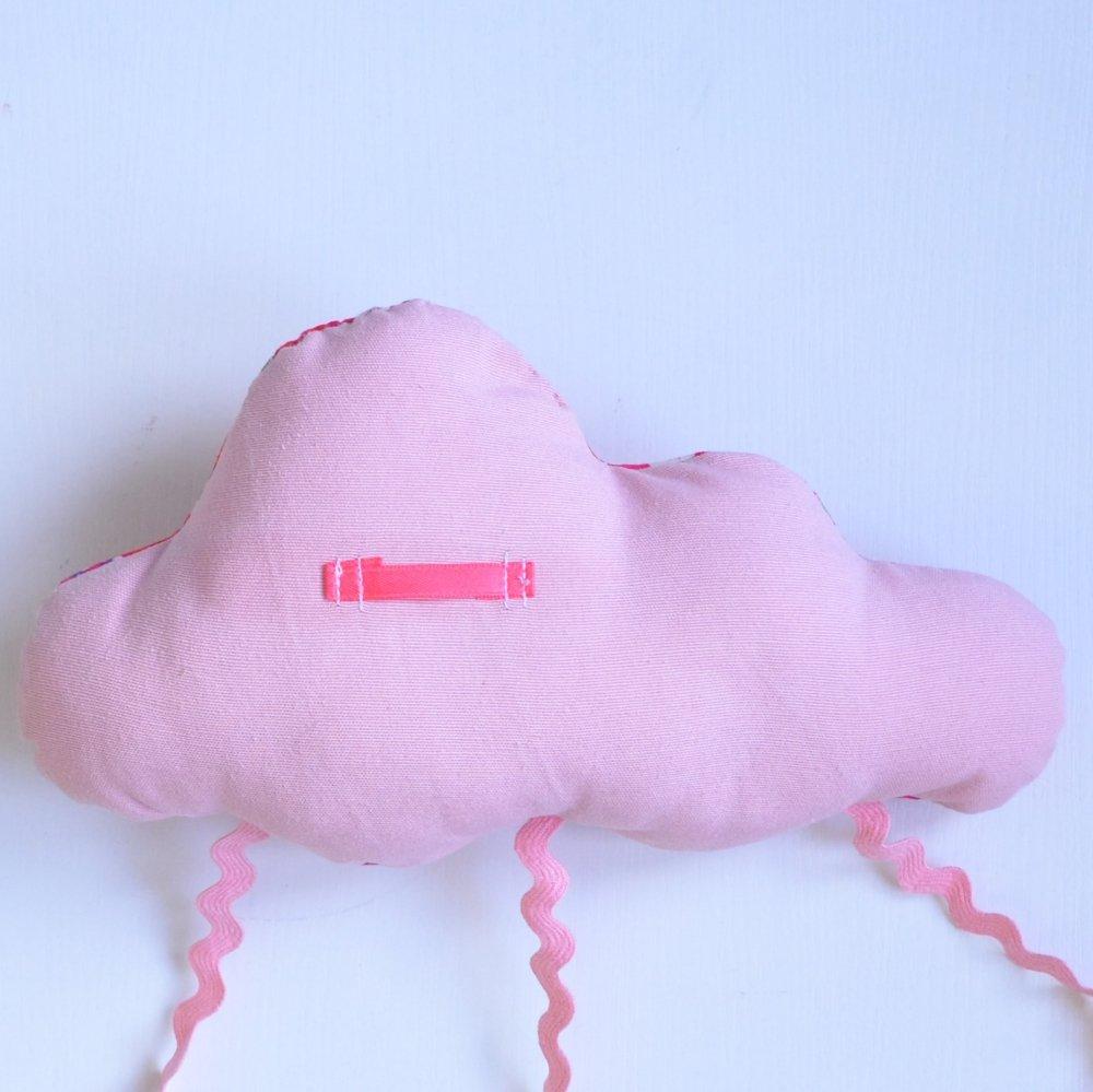 Nuage décoration/accroche barrette Liberty Mitsi rose--9995450784017