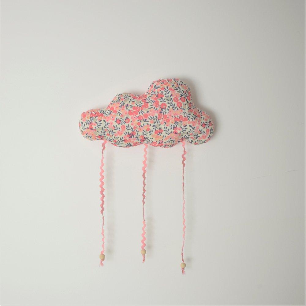 Nuage décoration/accroche barrette Liberty Wiltshire pois de senteur--9995450786608