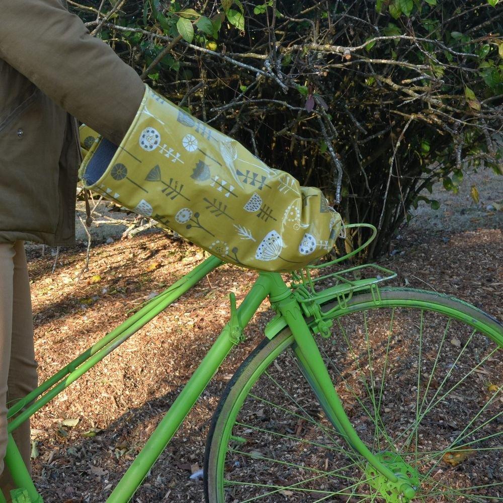 Protege mains guidon vélo impermeable et doublé polaire enduit moutarde motif fleurs et polaire grise--9995411093691