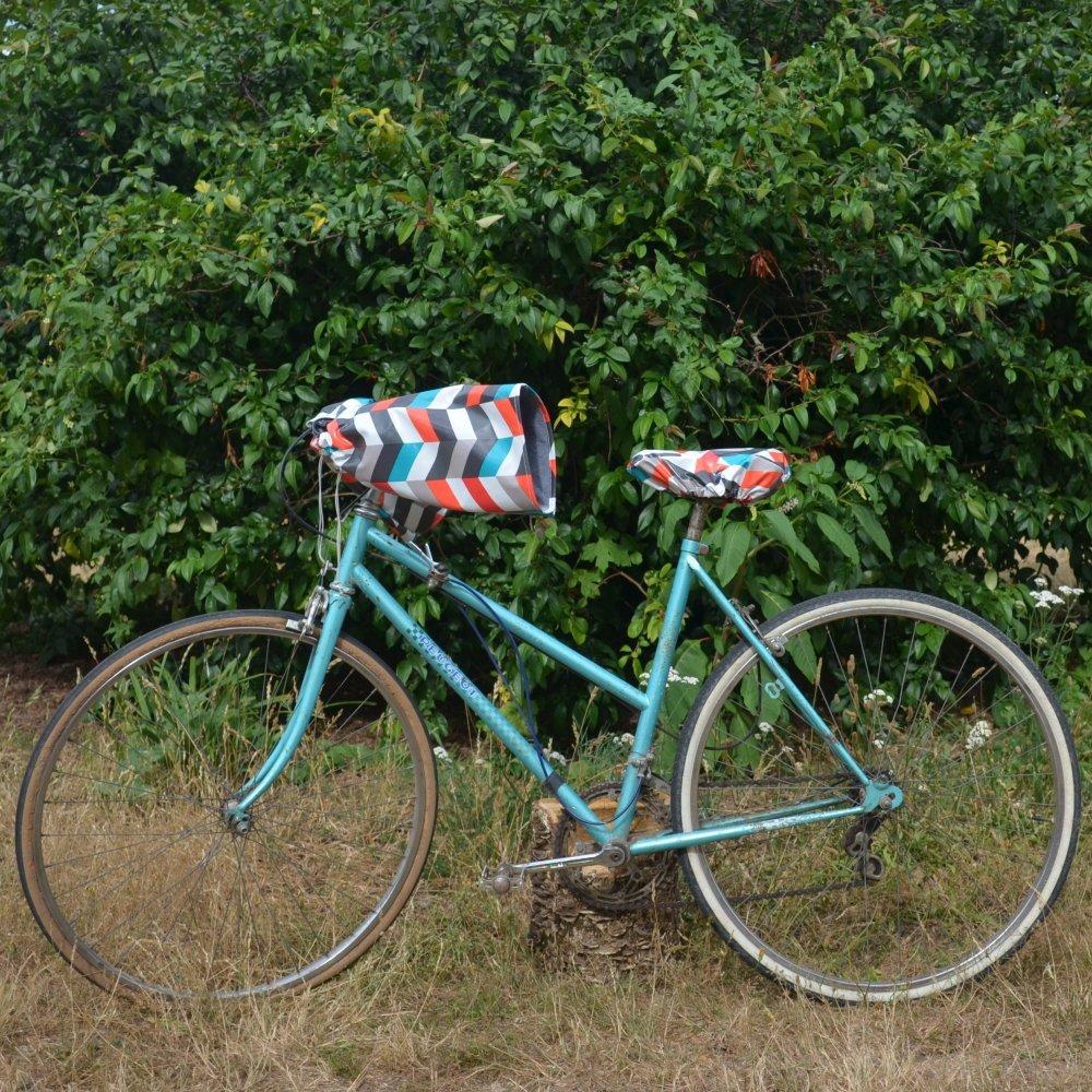Protege mains guidon vélo impermeable enduit chevron et doublé polaire grise--9996043520586