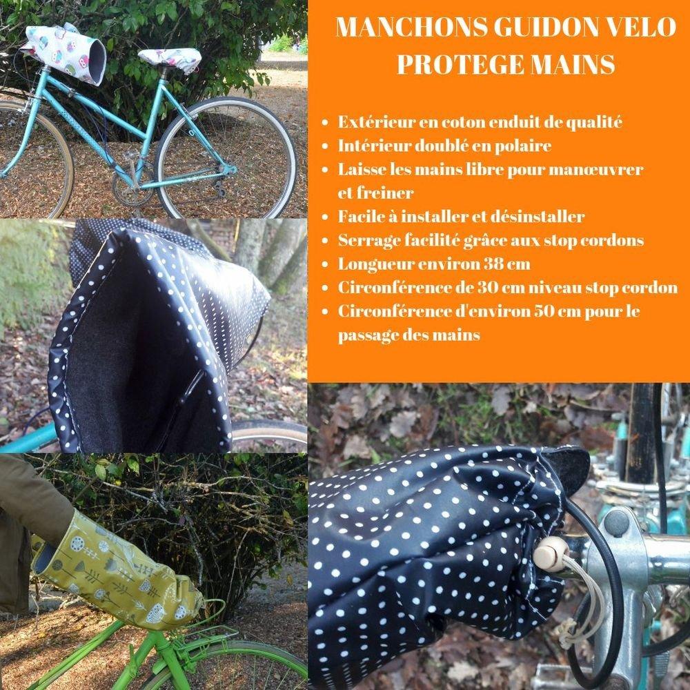 Protege mains guidon vélo impermeable enduit géométriques corail/gris/blanc et doublé polaire grise--9995486848837