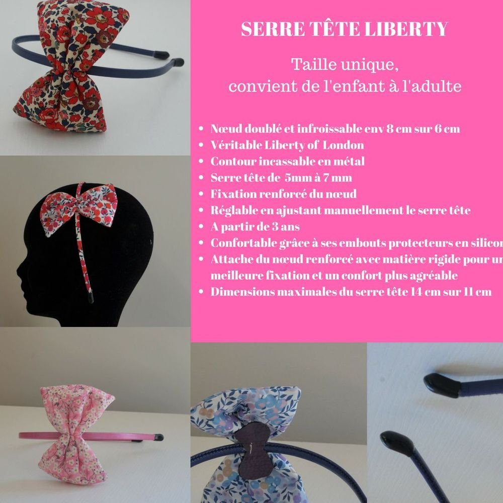 Serre tete noeud Liberty Poppy and daisy canard--9995410150982