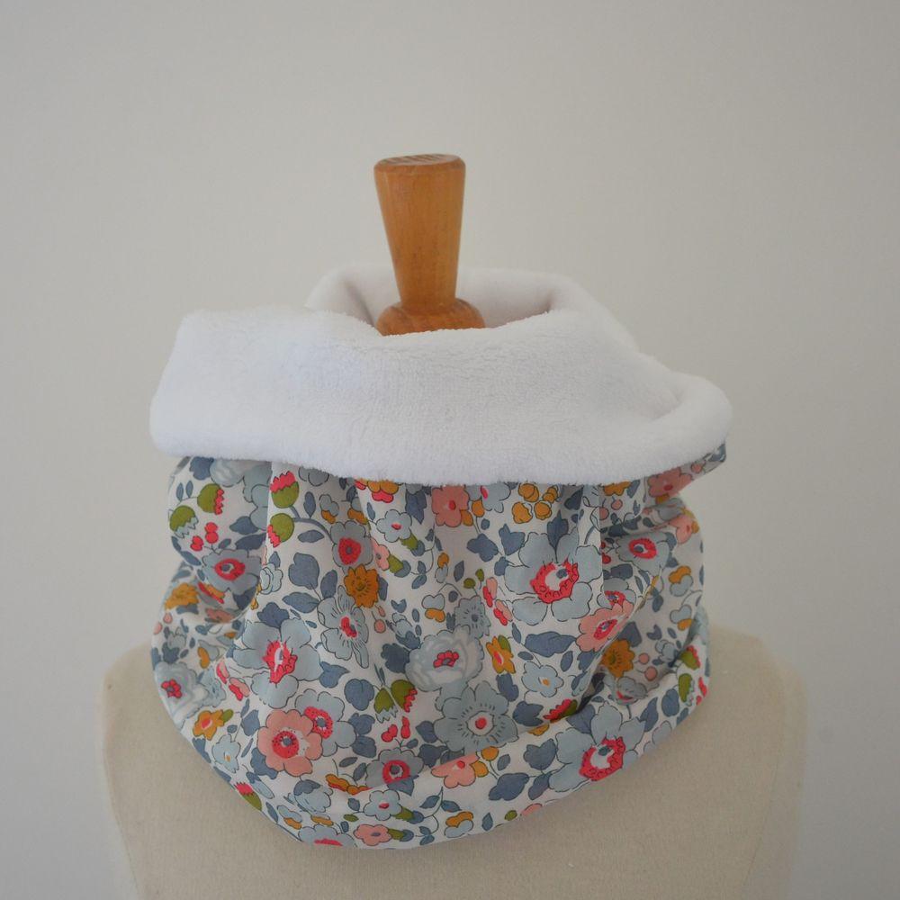 Snood tour de cou Liberty of London Betsy porcelaine et doudou blanc--9995375321465