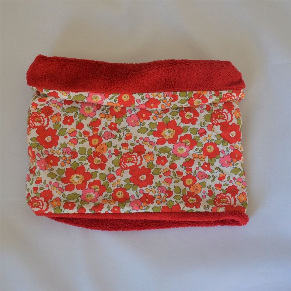 Snood tour de cou Liberty of London betsy rouge et doudou rouge--9995374212740
