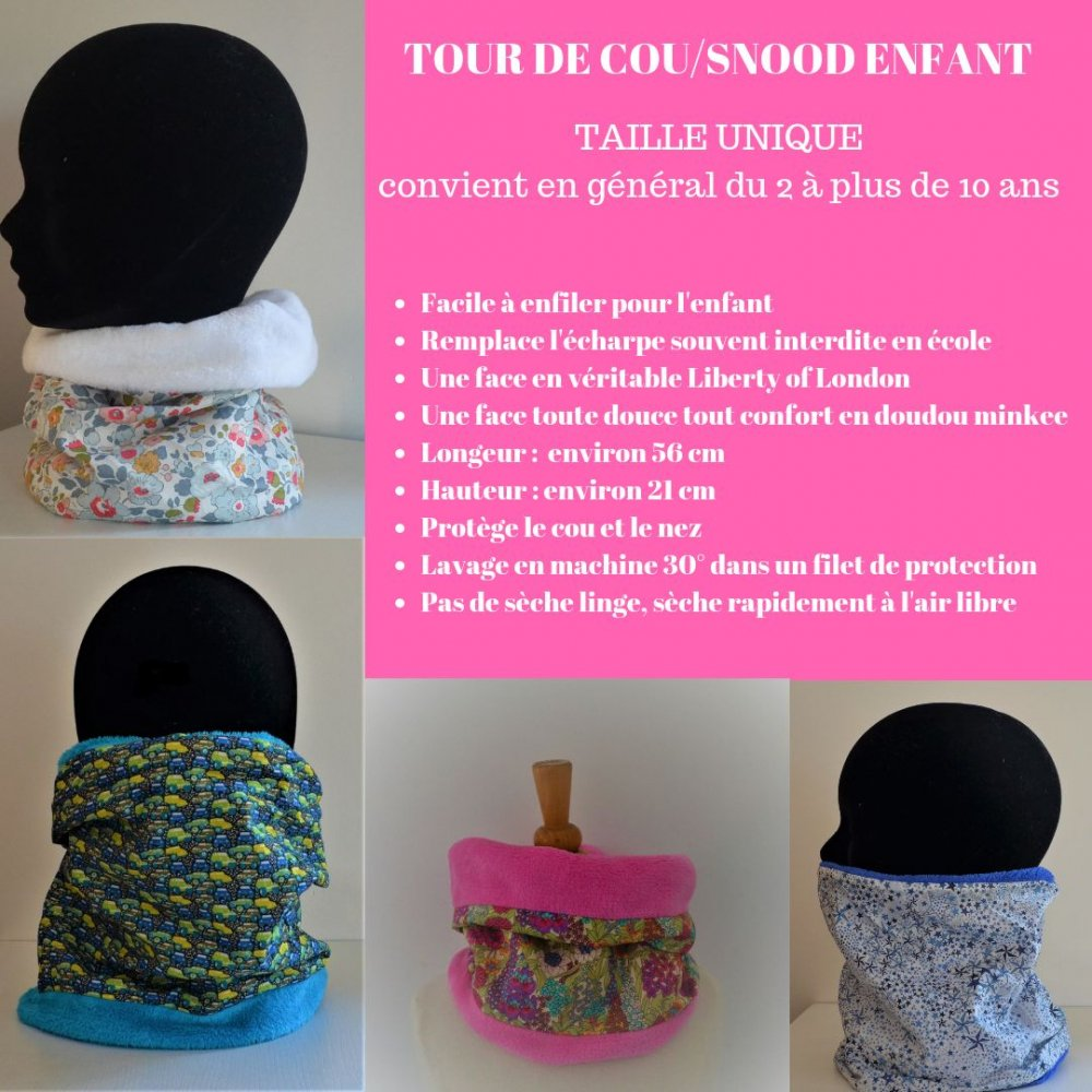 Snood tour de cou Liberty of London Phoebe rose et doudou blanc--9995375319479