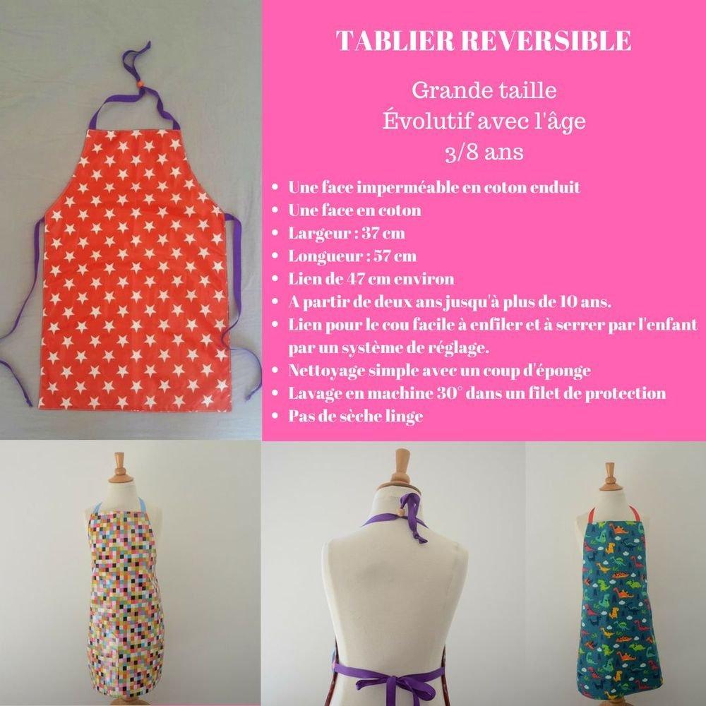 Tablier Imperméable Réversible chouettes 3/8 ans--9995346043662