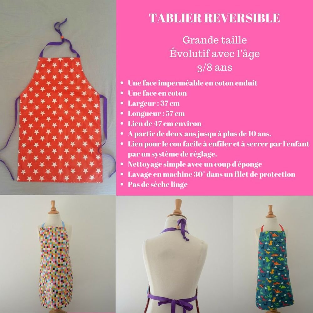 Tablier Imperméable Réversible cupcakes 3/8 ans--9995765305662