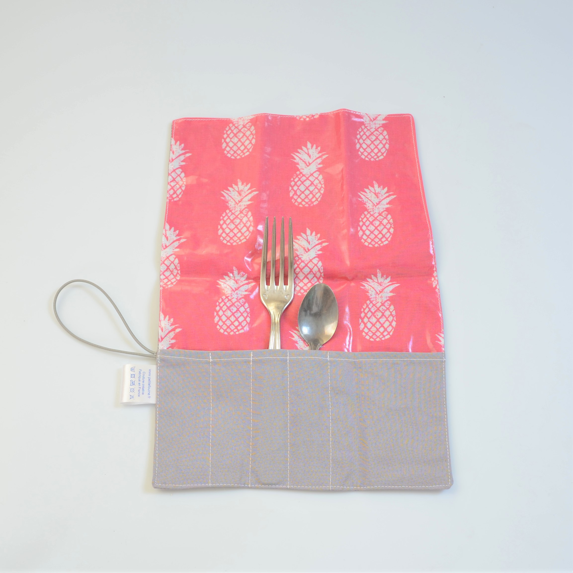 Trousse imperméable pour transporter les couverts motif ananas--9995971550573