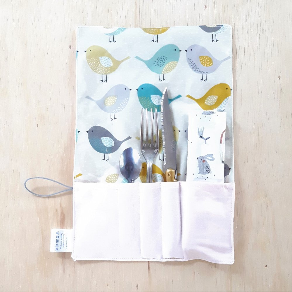 Trousse imperméable pour transporter les couverts motif Oiseaux--9995556096212