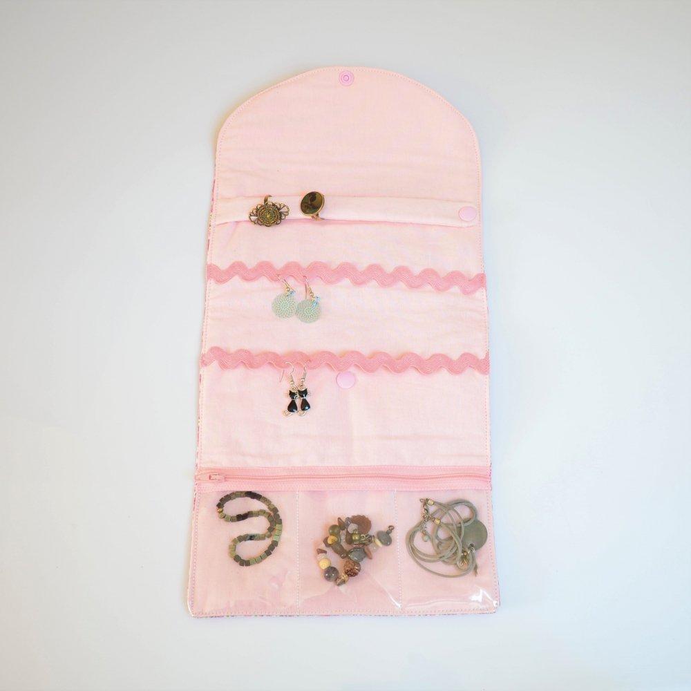 Trousse nomade rangement pour bijoux Liberty Mitsi valeria rose--9995869804498