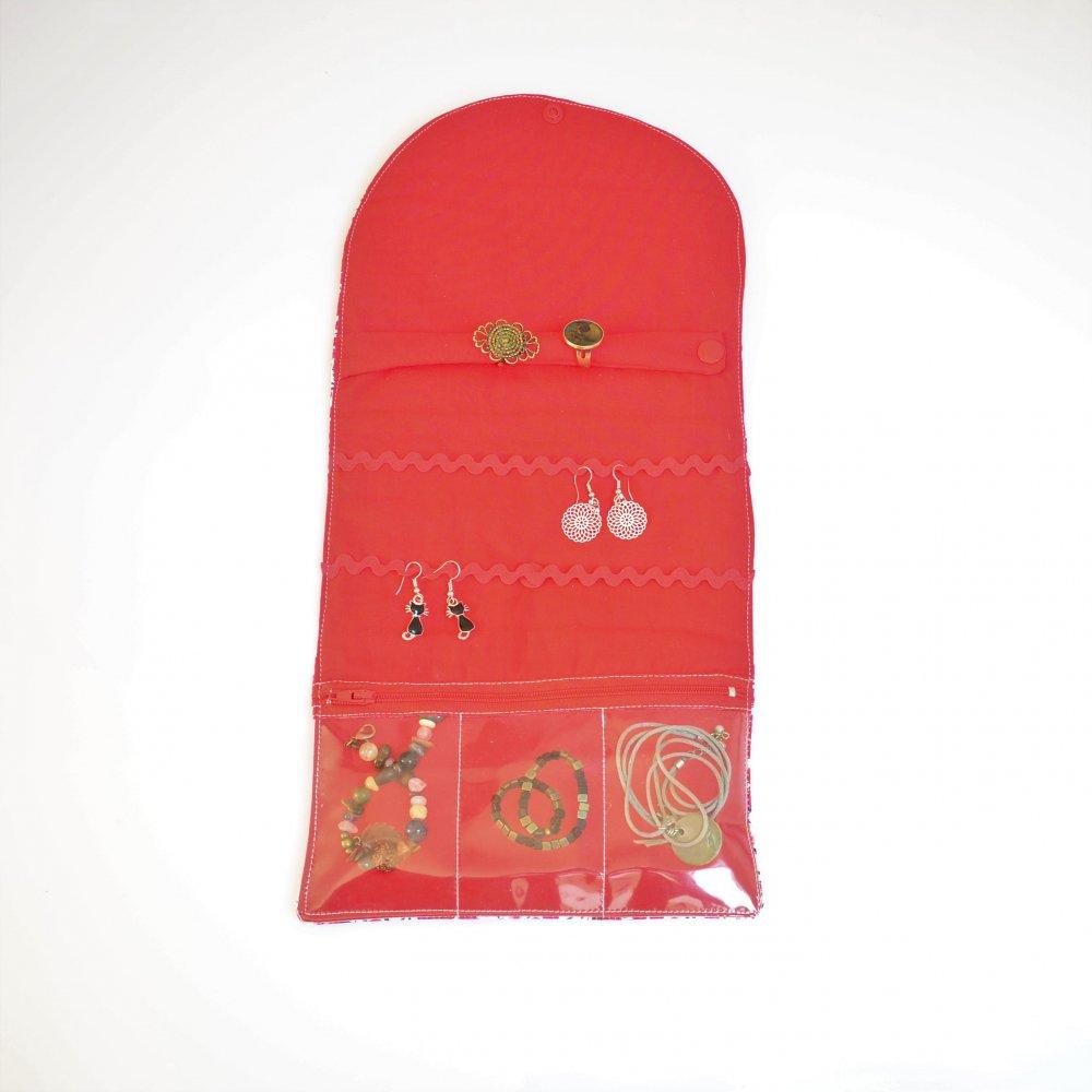 Trousse nomade rangement pour bijoux Liberty Wiltshire rouge--9995869801572