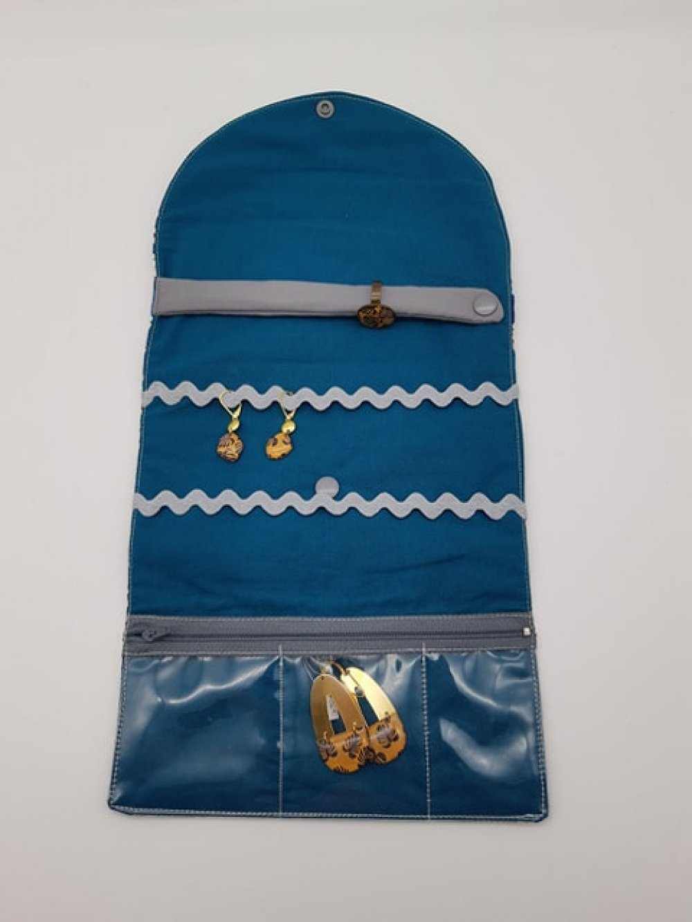 Trousse nomade rangement pour bijoux Liberty Wiltshire rouge et bleu--9995971558913