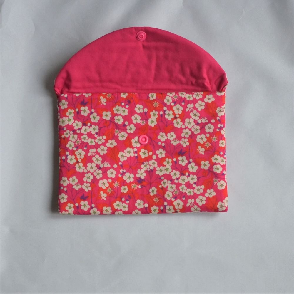 Trousse plate doublée Liberty Mitsi rose--9995403842542