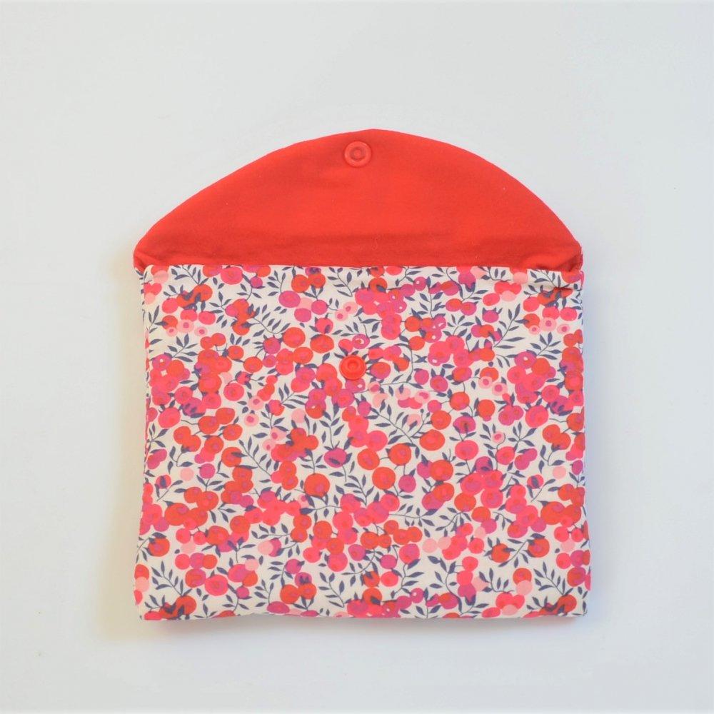 Trousse plate doublée Liberty Wiltshire rouge--9995403840531