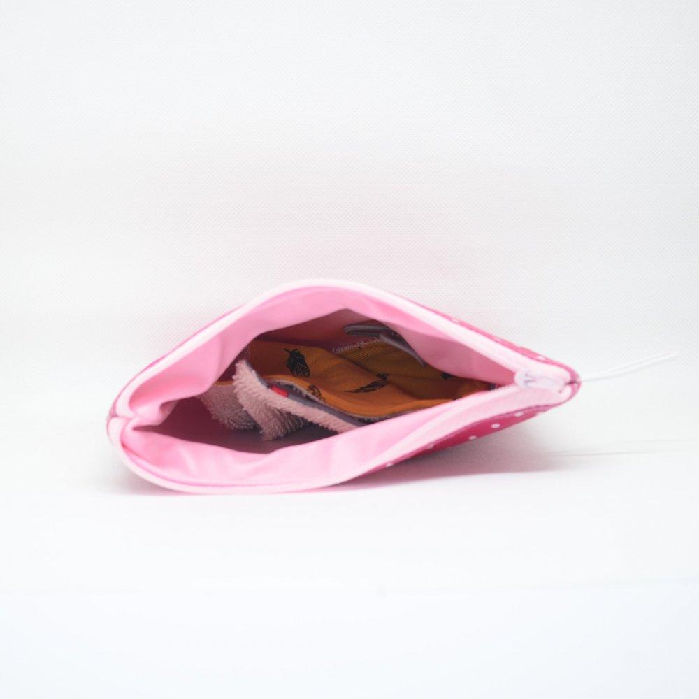 Trousse pour transporter ses lingettes propres et usagées, enduit pois--9995567140959