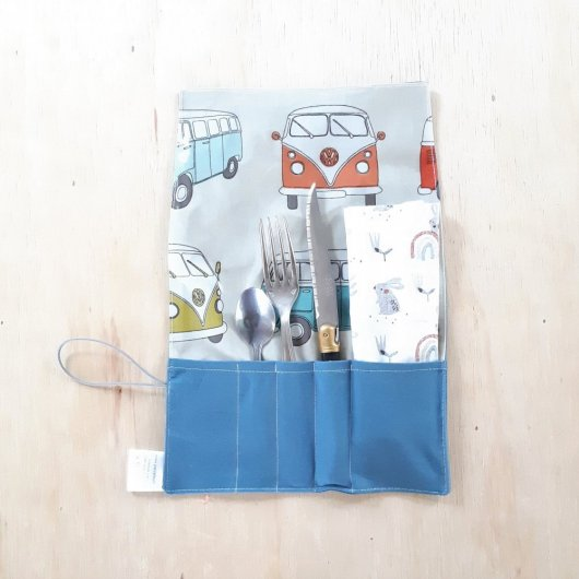 Trousse imperméable pour transporter les couverts combi/bleu