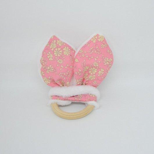 Anneau de dentition Liberty Capel rose et doudou blanc tout doux