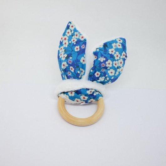 Anneau de dentition Liberty Mitsi Deep blue et doudou blanc tout doux