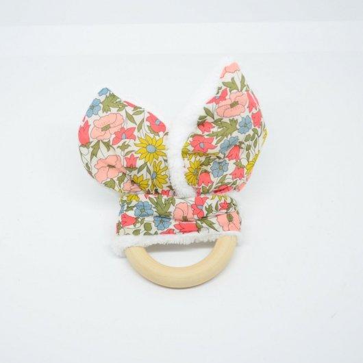 Anneau de dentition Liberty Poppy and daisy venus et doudou blanc tout doux