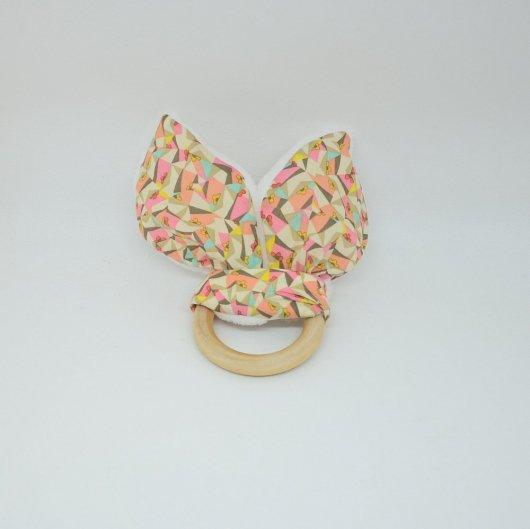 Anneau de dentition Liberty Poppy's patchwork et doudou blanc tout doux