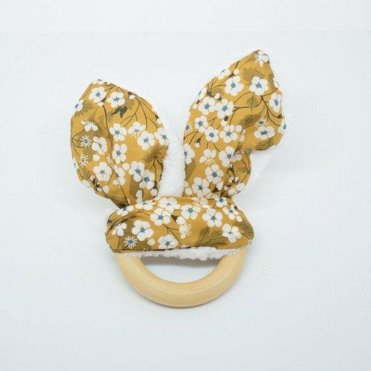 Anneau de dentition Liberty Mitsi moutarde et doudou blanc tout doux