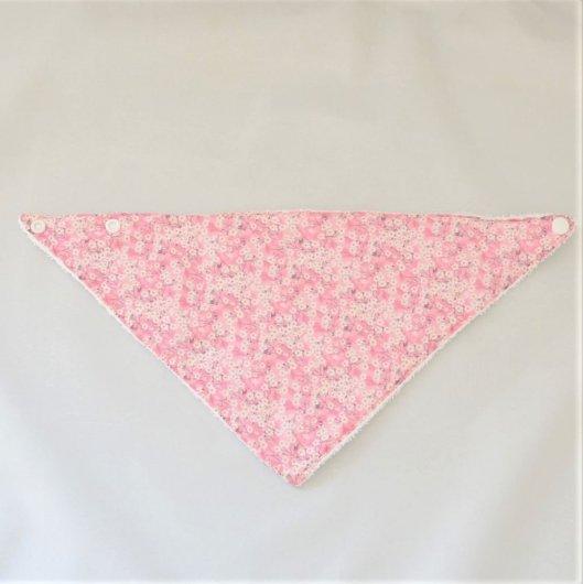 Bandana Bavette Liberty Mitsi valeria rose et éponge blanche