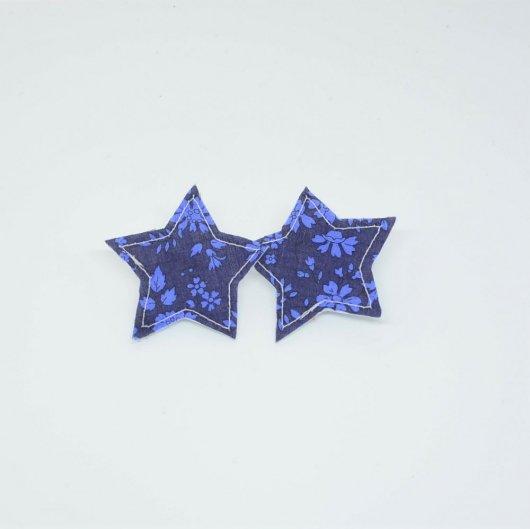 Barrette Etoile petite taille Liberty Capel bleu nuit. Lot de 2