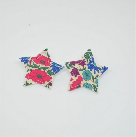Barrette Etoile petite taille Liberty Poppy and daisy canard . Lot de 2