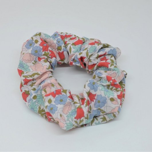 Chouchou cheveux scrunchie liberty Poppy and daisy rose poudre