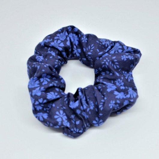 Chouchou cheveux scrunchie liberty Capel bleu nuit