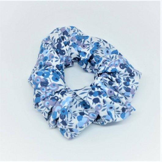 Chouchou cheveux scrunchie liberty Wiltshire bleu