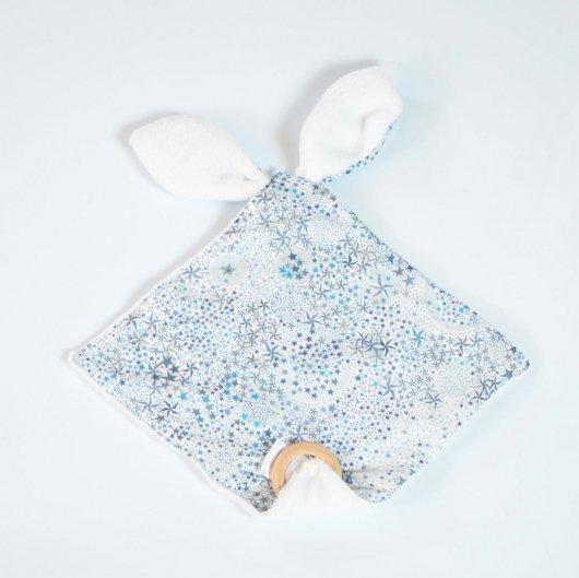 Doudou bébé 3 en 1 Liberty Adeladja bleu