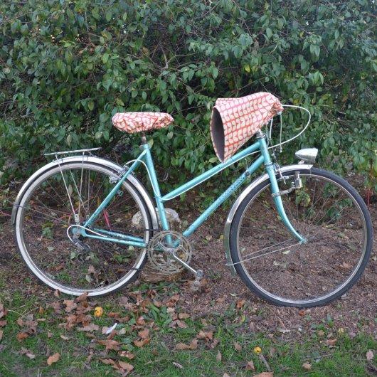 Housse pour selle de vélo, imperméable orange motif vintage