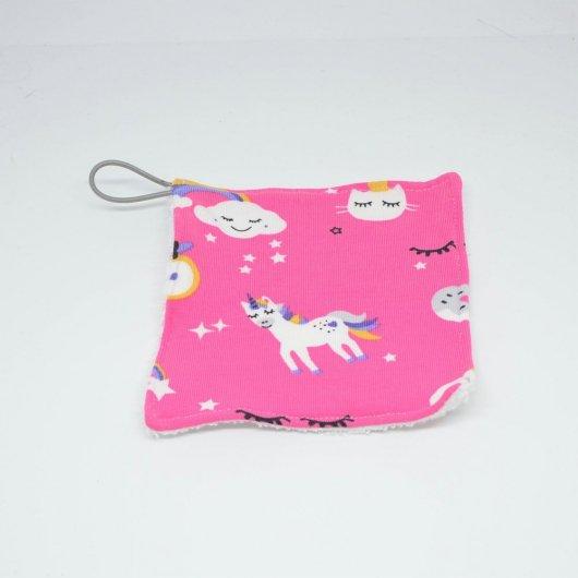 Lingettes lavables Tissu BIO et eponge bambou+ lien, lot de 3 motif licornes fond rose