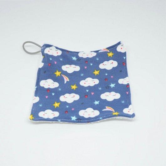 Lingettes lavables Tissu BIO et eponge bambou+ lien, lot de 3 motif nuages