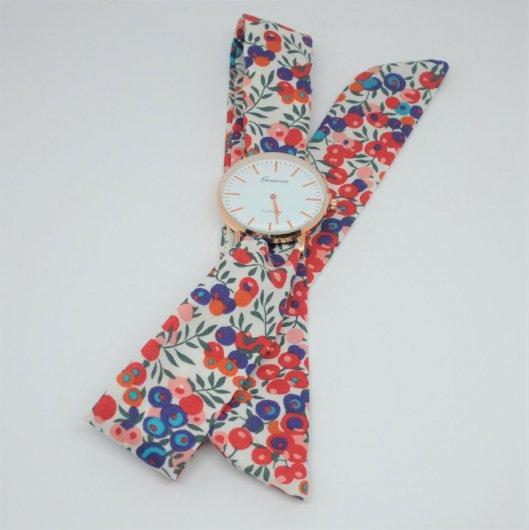 Montre à nouer bracelet Liberty Wiltshire rouge et bleu