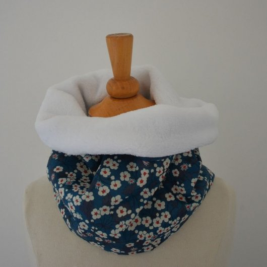 Snood tour de cou Liberty of London Mitsi bleu et doudou blanc