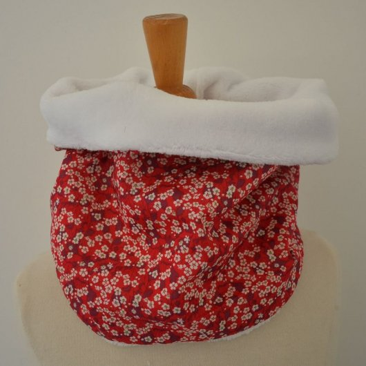 Snood tour de cou Liberty of London Mitsi valeria rouge et doudou blanc