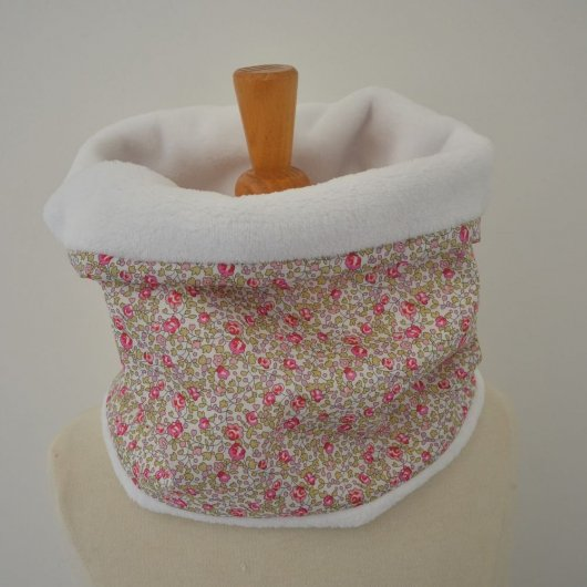 Snood tour de cou Liberty of London Eloise rose et doudou blanc