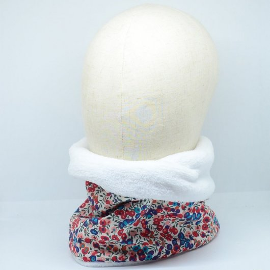 Snood tour de cou Liberty of London Wiltshire rouge et bleu doudou blanc