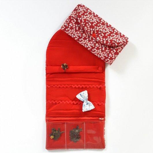 Trousse nomade rangement pour bijoux Liberty Mitsi rouge