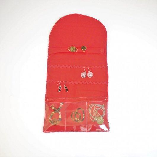 Trousse nomade rangement pour bijoux Liberty Wiltshire rouge