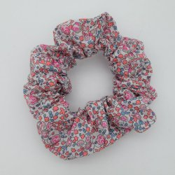 Chouchou cheveux scrunchie Liberty Eloise corail