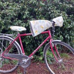 Protege mains guidon vélo + housse assortie impermeable enduit oiseaux