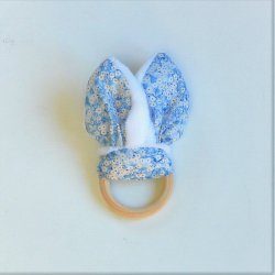 Anneau de dentition Liberty Mitsi valéria bleu et doudou blanc tout doux