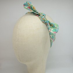 Bandeau à nouer taille ajustable liberty Betsy turquoise