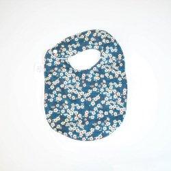 Bavoir première année Liberty Mitsi bleu et éponge blanche