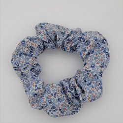 Chouchou cheveux scrunchie Liberty Eloise bleu