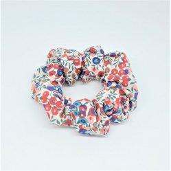 Chouchou cheveux scrunchie liberty Wiltshire rouge et bleu